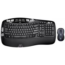 Logitech MK550 Wireless Wave Keyboard Mouse Combe Black Wave-shaped key frame Cushioned, contoured palm rest laser mouse - 920-002555/920-003733 920-002555