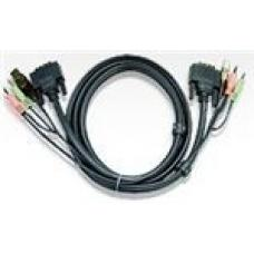 Aten 1.8m DVI-D (Single Link) Male to Male with USB Type A Male to Type B Female, 3.5mm Stereo Audio & Mic Cable 2L-7D02U