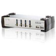 Aten 4 Port USB VGA KVMP Switch with Audio and USB 1.1 Hub - Cables Included CS1734A