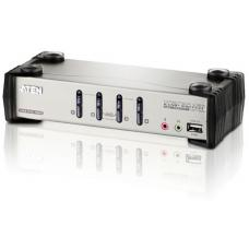 Aten 4 Port USB VGA KVMP Switch with Audio, OSD and USB 2.0 Hub - Cables Included CS1734B-AT-U