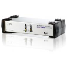 Aten 2 Port Dual View VGA KVM Switch with audio, includes 2 VGA USB KVM Cables and 2 VGA PS/2 KVM Cables included CS1742C-AT