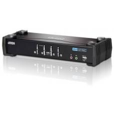 Aten 4 Port USB DVI KVMP Switch with Audio and USB 2.0 Hub - Cables Included CS1764A-AT-U
