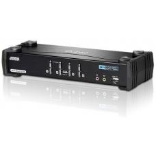 Aten 4 Port USB Dual-Link DVI KVMP Switch with 7.1 Audio and USB 2.0 Hub - Cables Included CS1784A-AT-U