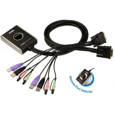 Aten Petite 2 Port USB DVI KVM Switch with Audio and Remote Port Selector - 1.2m Cables Built In CS682-AT