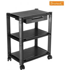 Brateck Height-Adjustable Modular Multi Purpose Smart Cart XL with Three-Tier and Drawer 13''-32'' Monitors Weight Capacity 10kg per layer AMS-5L