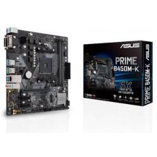 ASUS PRIME B450M-K AMD AM4 mATX MB With LED Lighting, DDR4 4400MHz, M.2, SATA 6Gbps, USB 3.1 Gen 2, DVI-D/D-Sub PRIME B450M-K