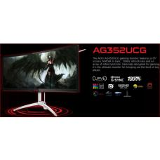 AOC AGON 35' VA IPS-Type 4ms 120Hz 3440x1440 G-Sync Curved Gaming Monitor w/HAS - HDMI/DP Speaker Height Adjust VESA100mm Black & Red AG352UCG6/75