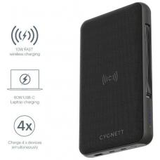 CYGNETT 27000 mAh USB-C Laptop and Wireless Power Bank - Black, Charge 3 devices at once, 60W USB-C Power Delivery, Power a laptop up to 16 hrs CY3113PBCHE