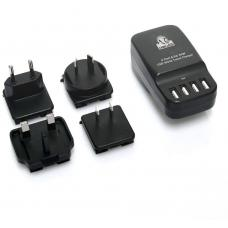 mbeat Gorilla Power 4-Port 6.8A 34W USB World Travel Charger - Interchangable World Travel Adapters (AUS/US/UK/EU) CHGR-4U-BLK