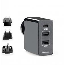 mbeat Gorilla Power 45W USB-C Power Delivery (PD 2.0) and Dual USB-A World Travel Charger MB-CHGR-PD45