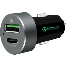 mbeat QuickBoost C Dual Port Qualcomm Certified Quick Charge 2.0 and USB Type-C Car Charger MB-CHGR-QBC