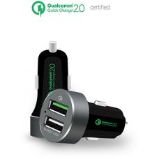 mbeat QuickBoost USB 2.0 Dual Port Car Charger - Certified Qualcomm Quick Charge 2.0 technology /Fast Charging/Samsung Galaxy Note Apple iPhone iPad MB-CHGR-QBS