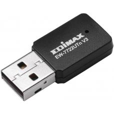 Edimax Wireless Mini USB Adapter 300Mbps USB EW-7722UTn Version 3 802.11 BGN, WPS Button, Tiny Size For Mobility And Convenience EW-7722UTn V3