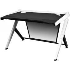 DXRacer 1000 Series Gaming Desk Black & White - 10 Degree Slope/Extended Work Surface/Stable Structure/Wire Management Openings/Raised Perimeter/Gamin GD/1000/NW