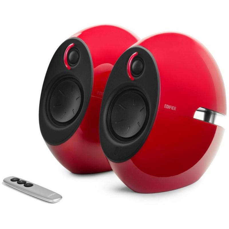 Edifier E25HD LUNA HD Bluetooth Speakers Red - BT 4.0/3.5mm AUX/Optical DSP/ 74W Speakers/ Curved design/Dual 2x3 Passive Bass/Wireless Remote  E25HD-RED