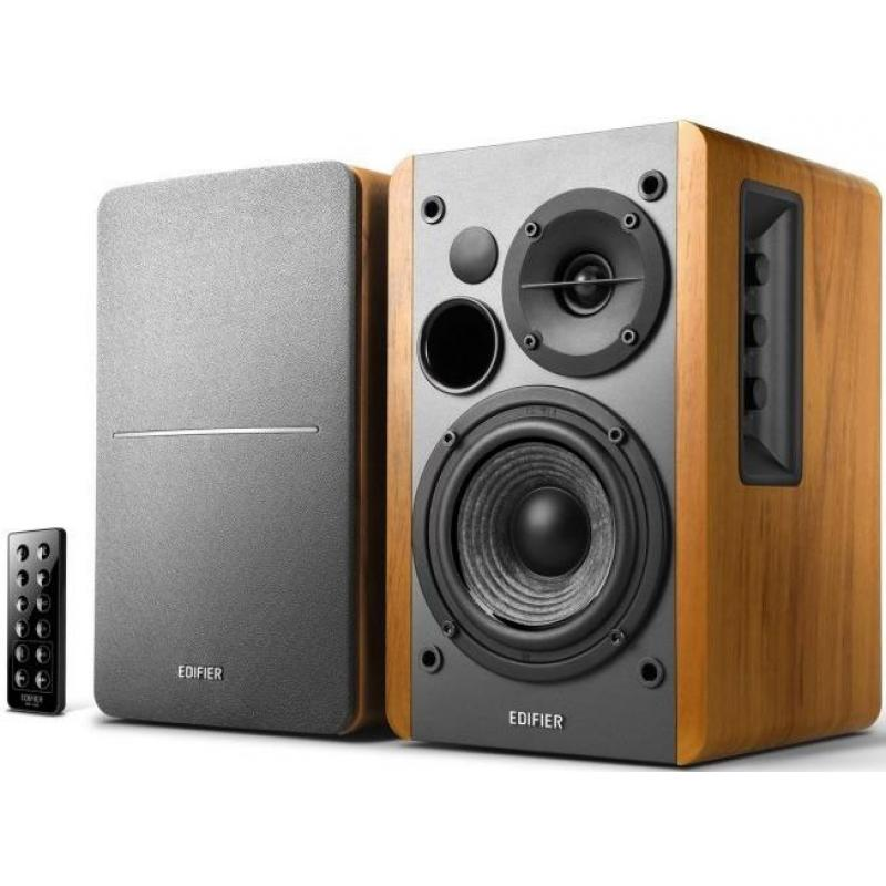 Edifier R1280DB - 2.0 Lifestyle Bookshelf Bluetooth Studio Speakers Brown - 3.5mm AUX/RCA/BT/Optical/Coaxial Connection/Wireless Remote R1280DB-BROWN