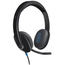 Logitech H540 USB Headset Laser-tuned drivers, 2Yr Plug and play Listen to details Crystal-clear voice Take control of the sound 981-000482