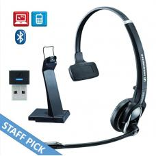 EPOS | Sennheiser IMPACT MB Pro1 UC ML Bluetooth 4.0 Headset with Desk USB Stand, Monaural, Noise Cancelling Mic, Upto 15 Hours Talk, Teams Certified 1000565