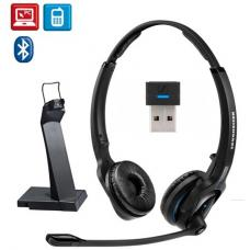 Sennheiser Bluetooth 4.0 headsetwith USB stand, binaural, ultra noise cancelling microphone, talk time up to 15 hours, Sennheiser HD sound, with USB d 506045