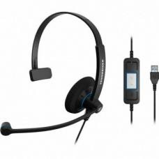 Sennheiser Monaural Wideband Office headset, integrated call control, USB connect, Activegard protection, large ear pad, noise cancel mic, Call Contr SC 30 USB CTRL