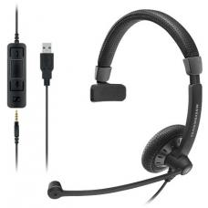 Sennheiser Monaural corded headset with 3.5 mm four-pole jack, plus detachable USB cable with call control. Noise cancel mic, Wideband sound SC 45 USB CONTROL