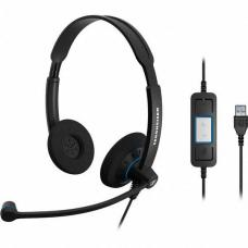 Sennheiser Binaural Wideband Office headset, integrated call control, USB connect, Activegard protection, large ear pad, noise cancel mic, 2 Year War SC 60 USB CTRL