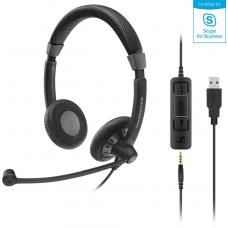 Sennheiser Stereo corded headset with 3.5 mm four-pole jack, plus detachable USB cable with call control. Noise cancel mic, Wideband sound SC 75 USB MS