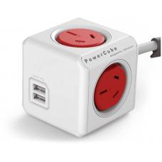 ALLOCACOC POWERCUBE Extended 4 Outlets with 2 USB 3M - Red 5404/AUEUPCRED