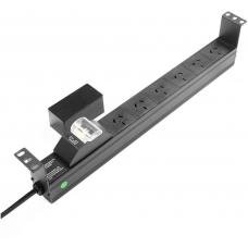PowerShield 6 Way PDU with Australian Sockets - horizontal RPR-6HMCB