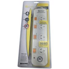 Sansai 4-Way Power Board (422TL) with Individual Switches and Surge Protection inc. Phone Line PHX-422TL