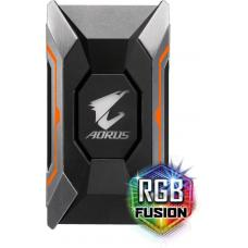 Gigabyte AORUS RGB SLI HB Bridge 2-way SLI Geforce GTX series Video Cards Multi-mode LED RGB Fusion Optimized for UHD 1 slot PCI-E spacing AORUS RGB SLI HB Bridge