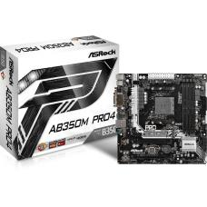 "ASRock AB350M-PRO4 AB350 Pro4, AM4, A-Series / Ryzen Series, AMD Chipset, 64GB, Dual Channel, ATX Form Factor, 12.0"" x 8.8"", 24 Power Pin, 3 Yrs Warranty"