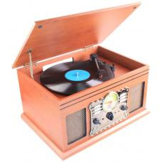 Laser SPK-TT830WD Turntable Wooden Entertainment Centre with CD, Cassette, FM/AM, USB/SD, USB & Bluetooth