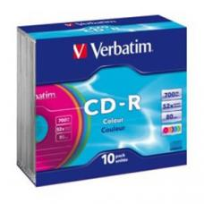 Verbatim CD-R 80 Min Colours Slim Case 10 Pack 52x  41849