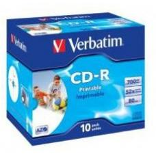 Verbatim 41920 CD-R 80 Min Wide IJ Printable Jewel Case 10 Pack 52x  41920