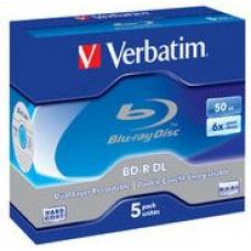 Verbatim 43748 Blu-Ray BD-R Dual-Layer 50GB, 5 Pack, 6x  43748
