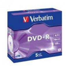 Verbatim DataLife DVD+R, 4.7GB, Jewel Case, 5 Pack, 16x Max  95049