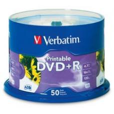 Verbatim DVD+R White Inkjet Printable 50 Pack Spindle 16x  95136
