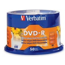Verbatim DVD-R 4.7GB White Inkjet Printable 50 Pack Spindle  95137