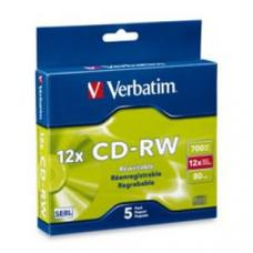 Verbatim DataLifePlus CD-RW 80 Min Slim Case 5 Pack 4-12x High Speed  95157